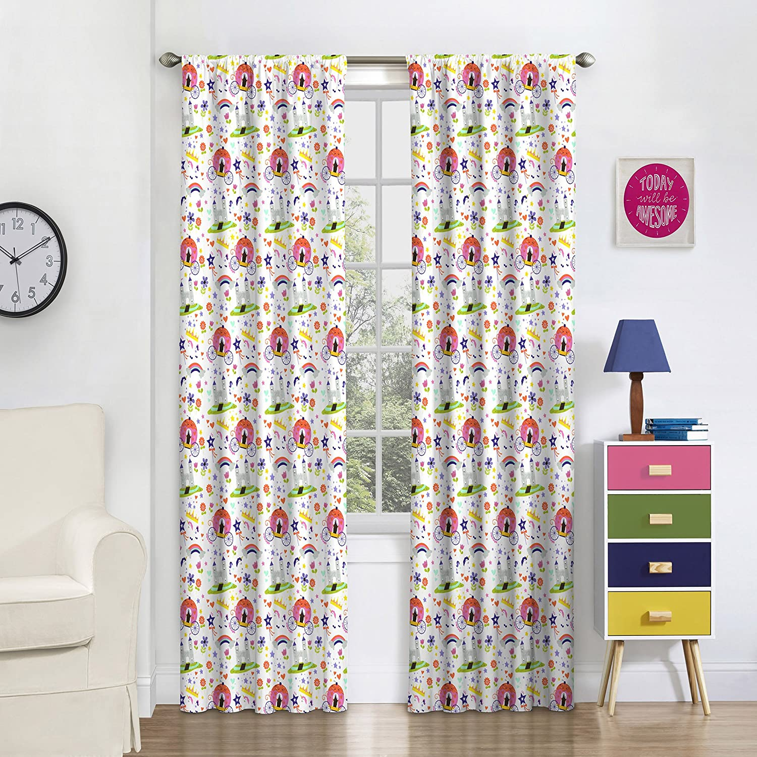 Eclipse 16459042X063MUL Pretty Princess Window Panel,Multi,42x63 Ellery Homestyles