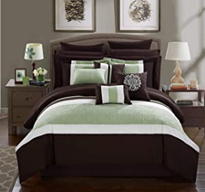 Chic Home Pisa 16 Piece Bed in a Bag Comforter Set, King, Brown