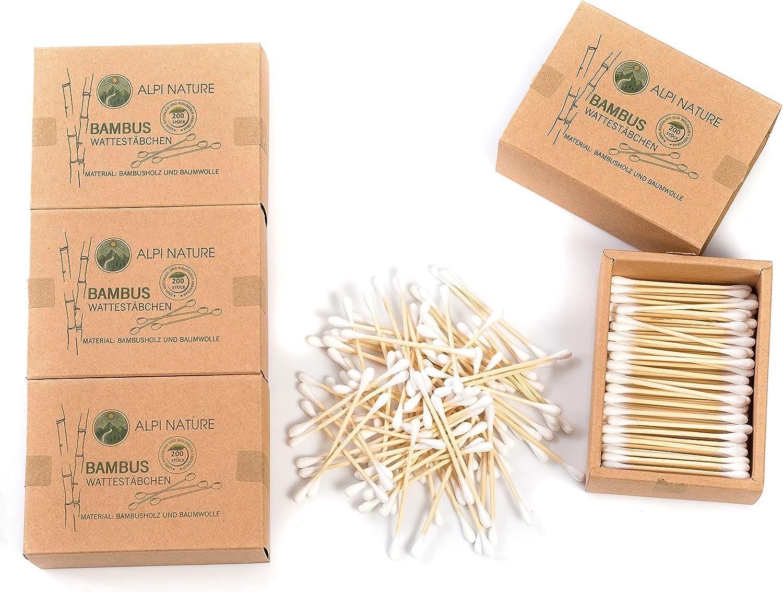 Bastoncillos de bambú para las orejas (800 piezas), Sin pelusas, veganos, respetuosos con el medio ambiente, cosméticos sostenibles sin plástico, Algodón suave, Para niños y adultos