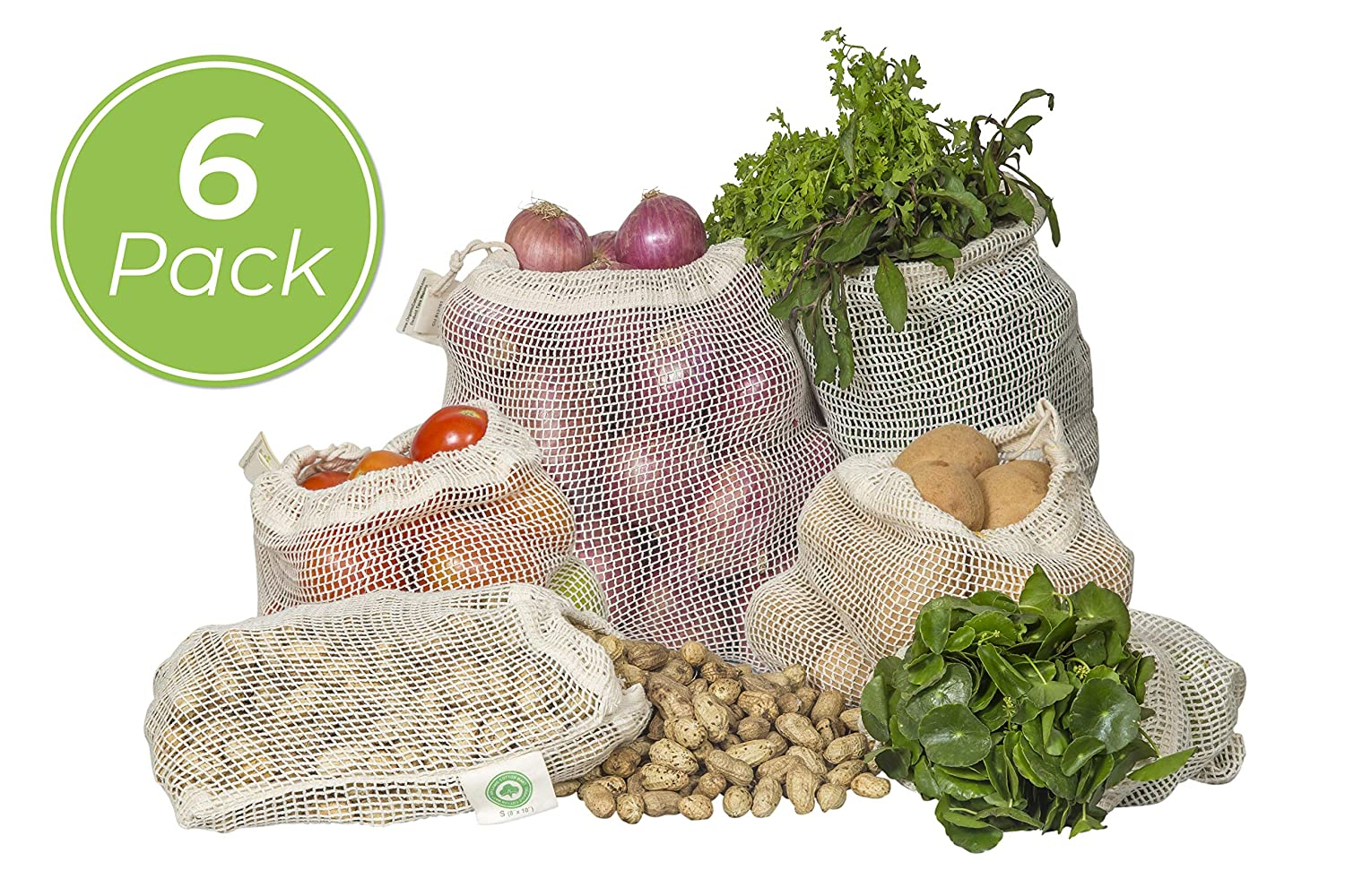 cotton mesh reusable produce bags