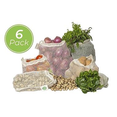 Best Reusable Produce Bags Cotton - Mesh Produce Bags with Drawstring – Organic Cotton Produce Bags - Vegetable Bags – Fruit Mesh Bags – Zero Waste Bags – Washable & Eco-friendly| 6 Bags (2L, 2M, 2S)