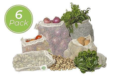 Amazon.com: Bolsas de malla reutilizables hechas de 100 ...