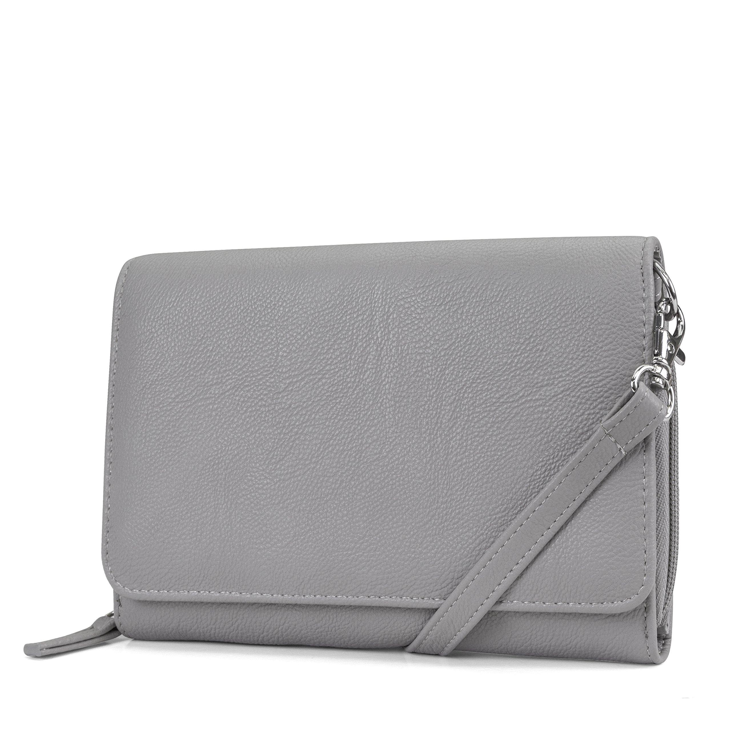 Mundi RFID Crossbody Bag For Women Anti Theft Travel Purse Handbag Wallet Vegan Leather (Grey)