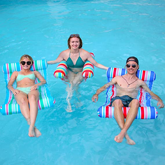 Swimming Pool Float Chair,Fun Backyard Swimming Pool Raft for Adults and Kids Swimming Pool Float Hammock,Multi-Purpose Inflatable Hammock,Water Hammock Lounge Water Hammock Blue Tripod 2020NEW