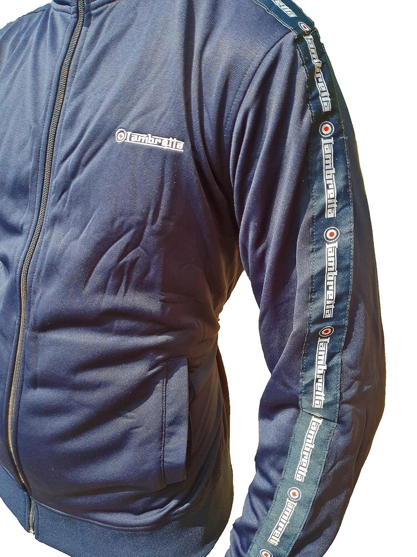 Lambretta Mens Retro Panel Casual Long Sleeve Full Zip Tracksuit Track Jacket