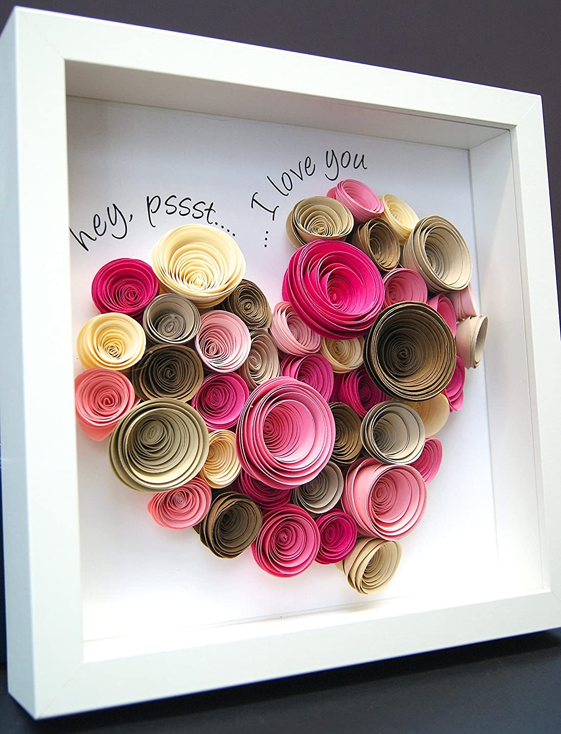 Personalized Paper Origami Shadowbox Frame of Large Heart made up of Paper Roses for Wedding Anniversary Valentine Engagement Custom Gift
