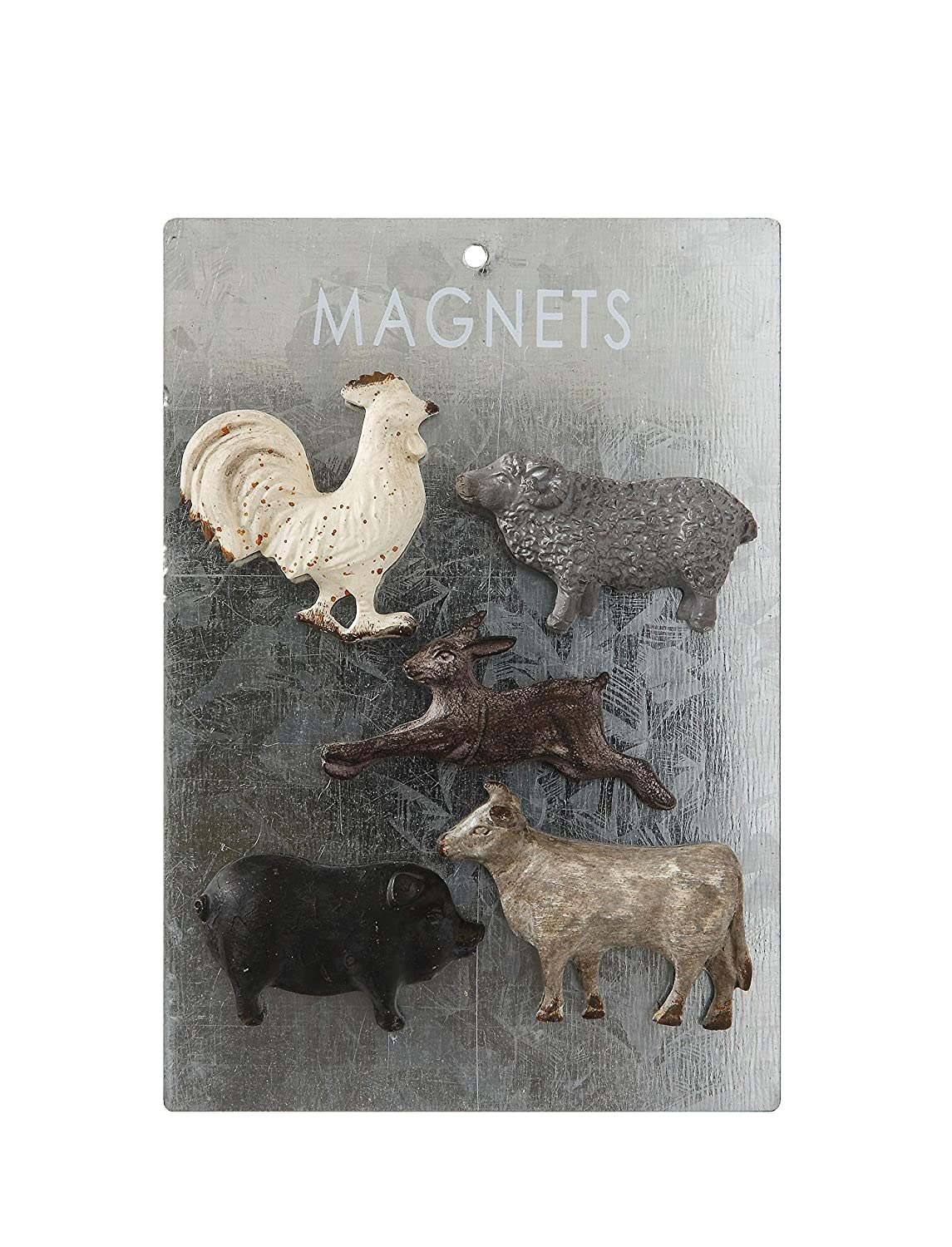 Creative Co-op Pewter Card (Set of 5 Styles) Animal Magnets, Multicolored