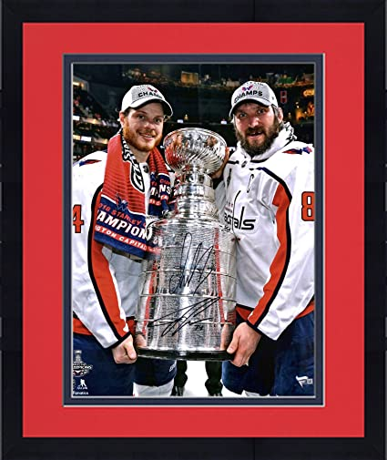 "ce5f6f88706 Framed Alex Ovechkin & John Carlson Washington Capitals 2018 Stanley Cup  Champions Autographed 16"" x"
