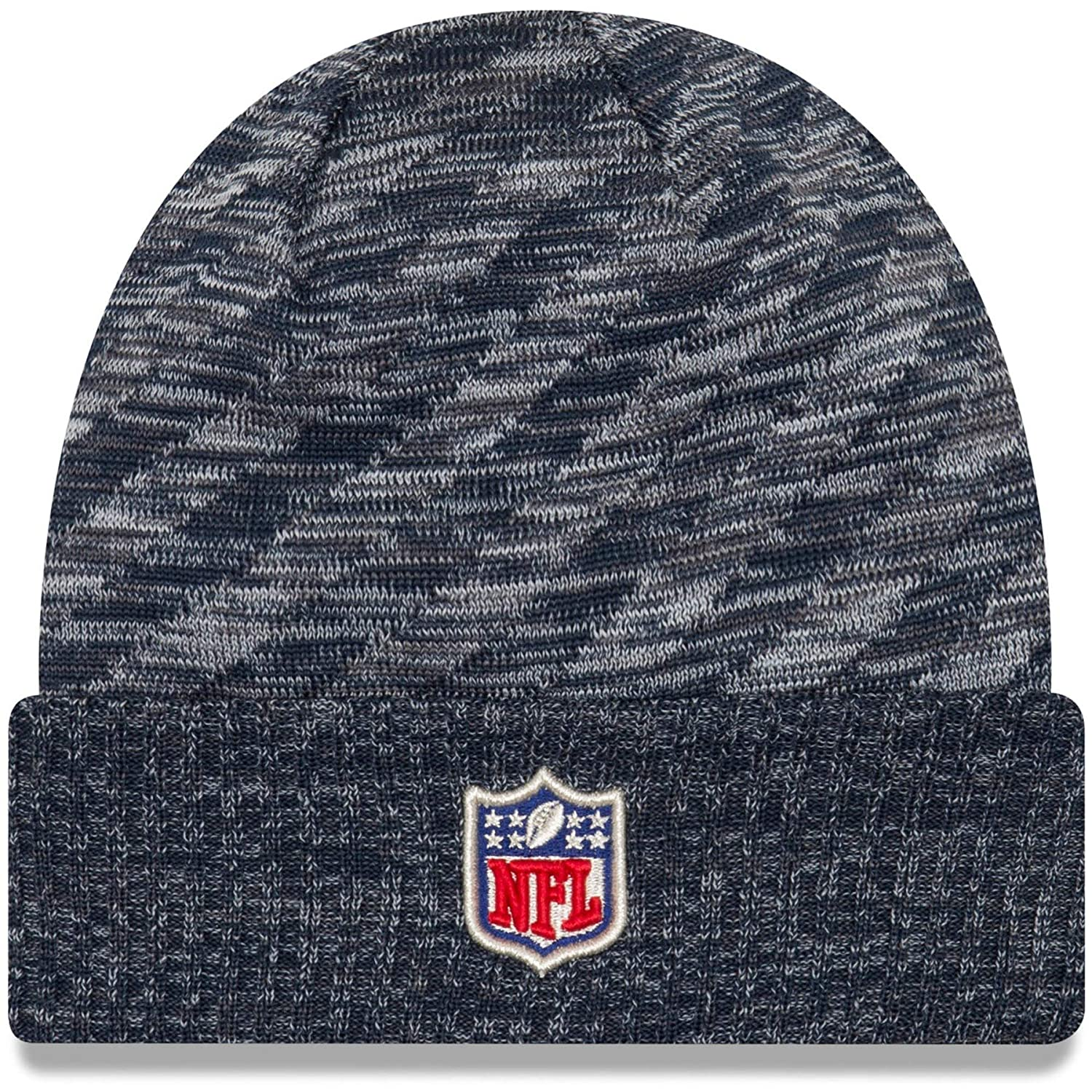 Amazon.com  New Era New England Patriots Knit On Field 18 TD Winter Hat  Navy Grey Size One Size  Clothing afb70f9a26d