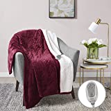 "MP2 Heated Sherpa Throw Blanket Electric Lap Blanket 50"" x 60"" with 3 Heating Levels 2 Hours Auto Off for Home and Office Use Machine Washable UL Certified, EMF Radiation Safe, Red"