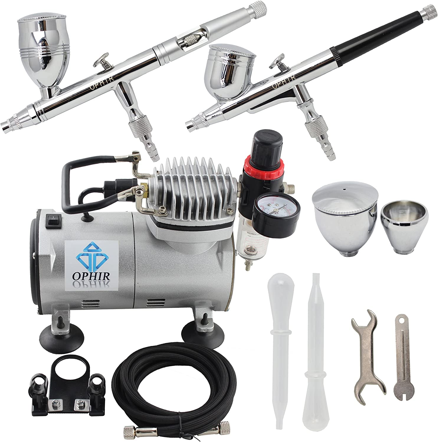 220V//50Hz 0.3mm Double-Action Airbrush Kit Spray Filter Autostop Air Compressor