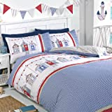 Just Contempo Nautical Beach House Housse de couette avec motif carreaux vichy et réversible à rayures Beige/blanc bleu rouge, Polycoton, White Blue Red Beige, King