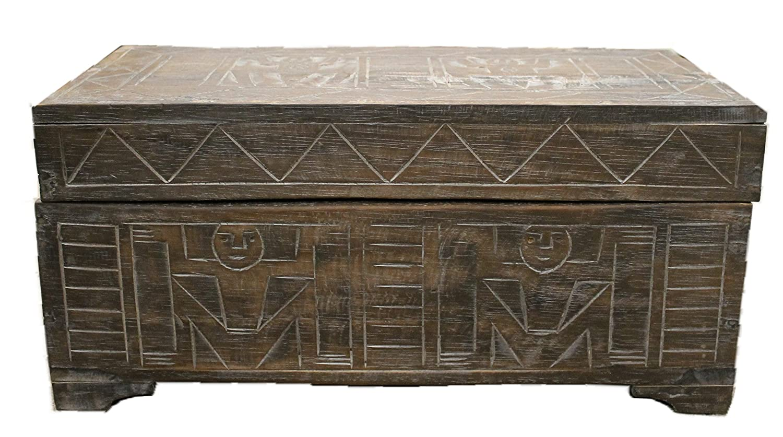 Truhe 60 cm Holz Deko Schatztruhe Holzkiste Holztruhe Krieger Afrika