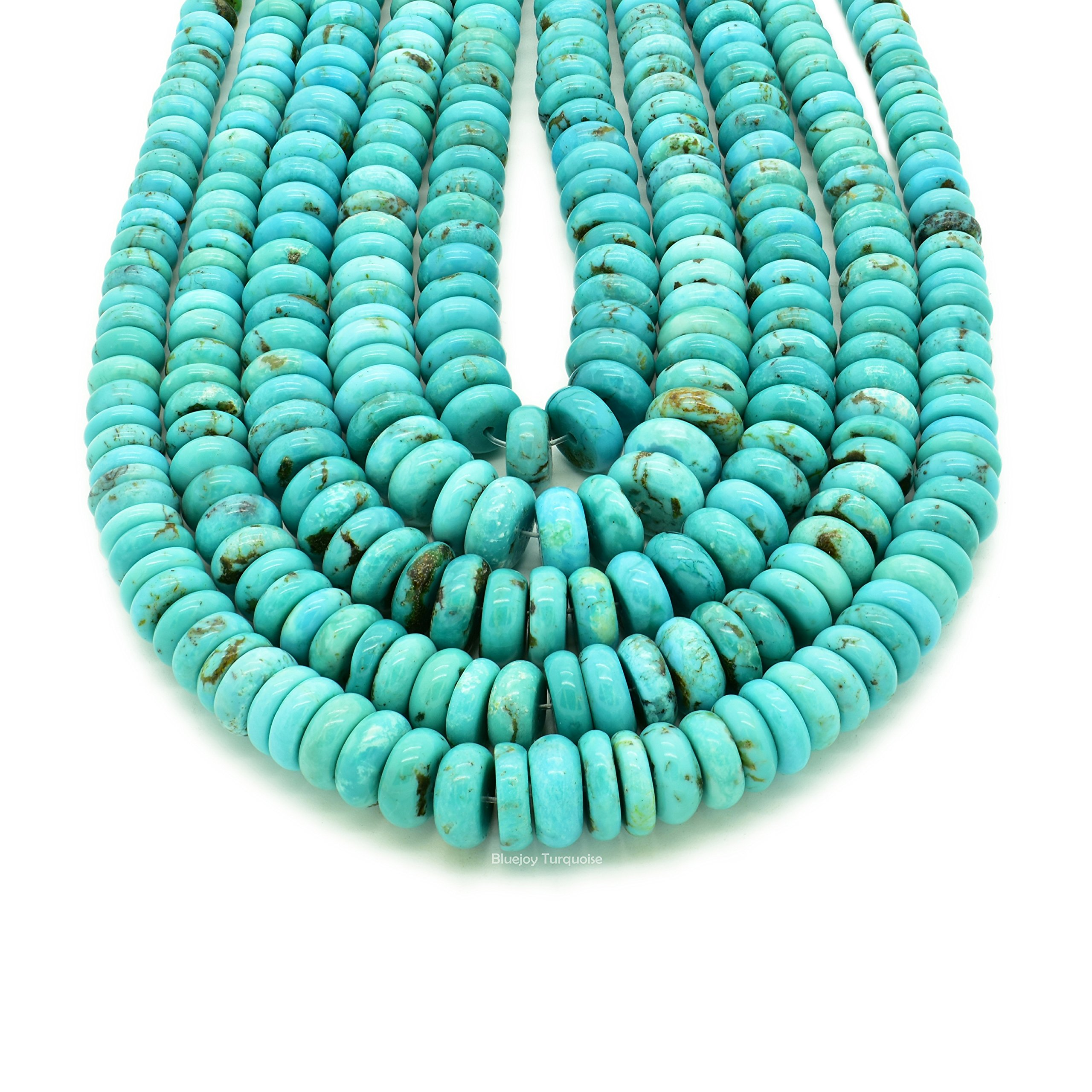 Bluejoy Genuine Natural American Turquoise Graduated Button Bead 16 inch Strand for Jewelry Making (5-9mm) by Bluejoy Turquoise