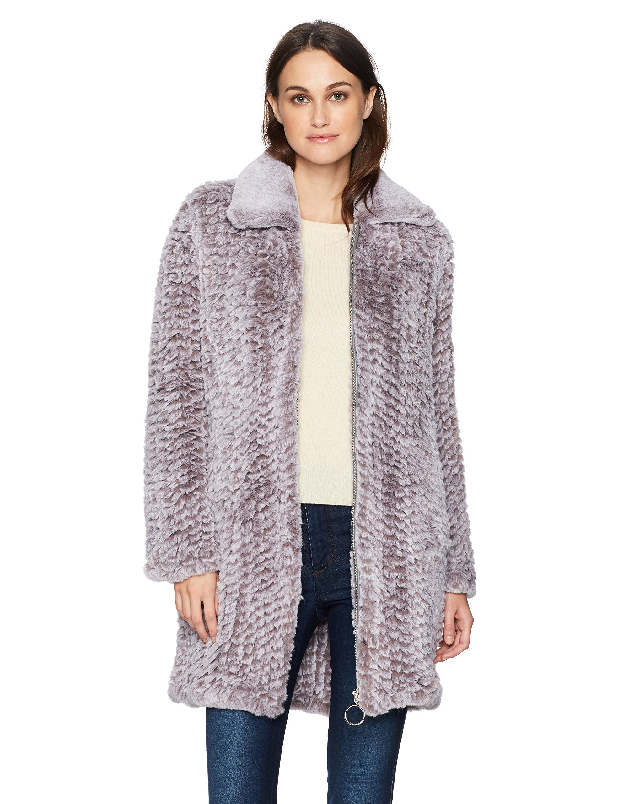 Avec Les Filles Women's Knitted Faux Fur Walker Coat, Melange Grey, M