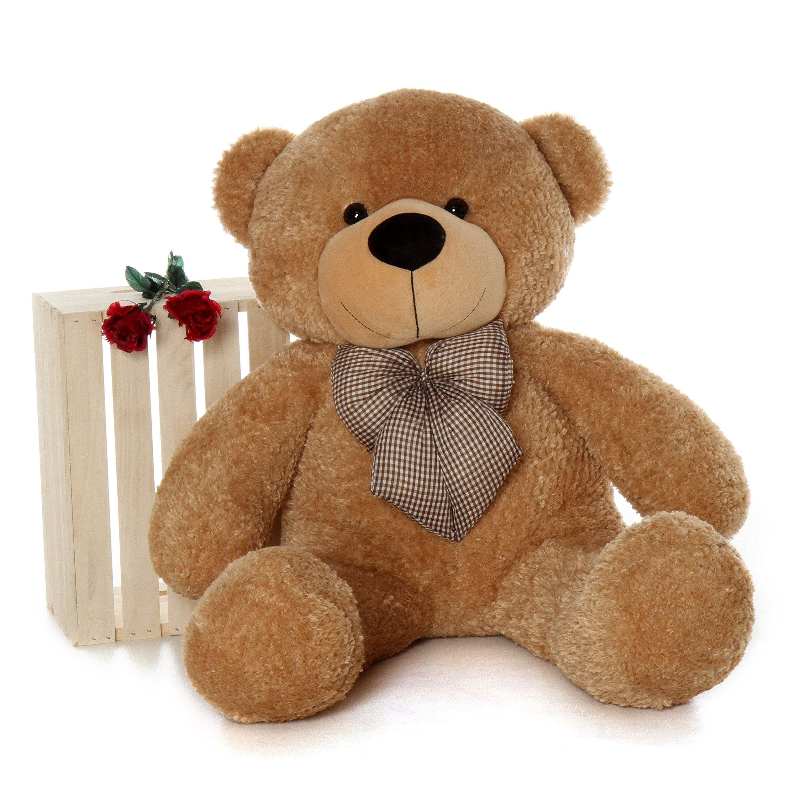 Giant Teddy Brand - 4 Foot Huge Cuddly Stuffed Animal for Girlfriend (Amber Brown) by Giant Teddy