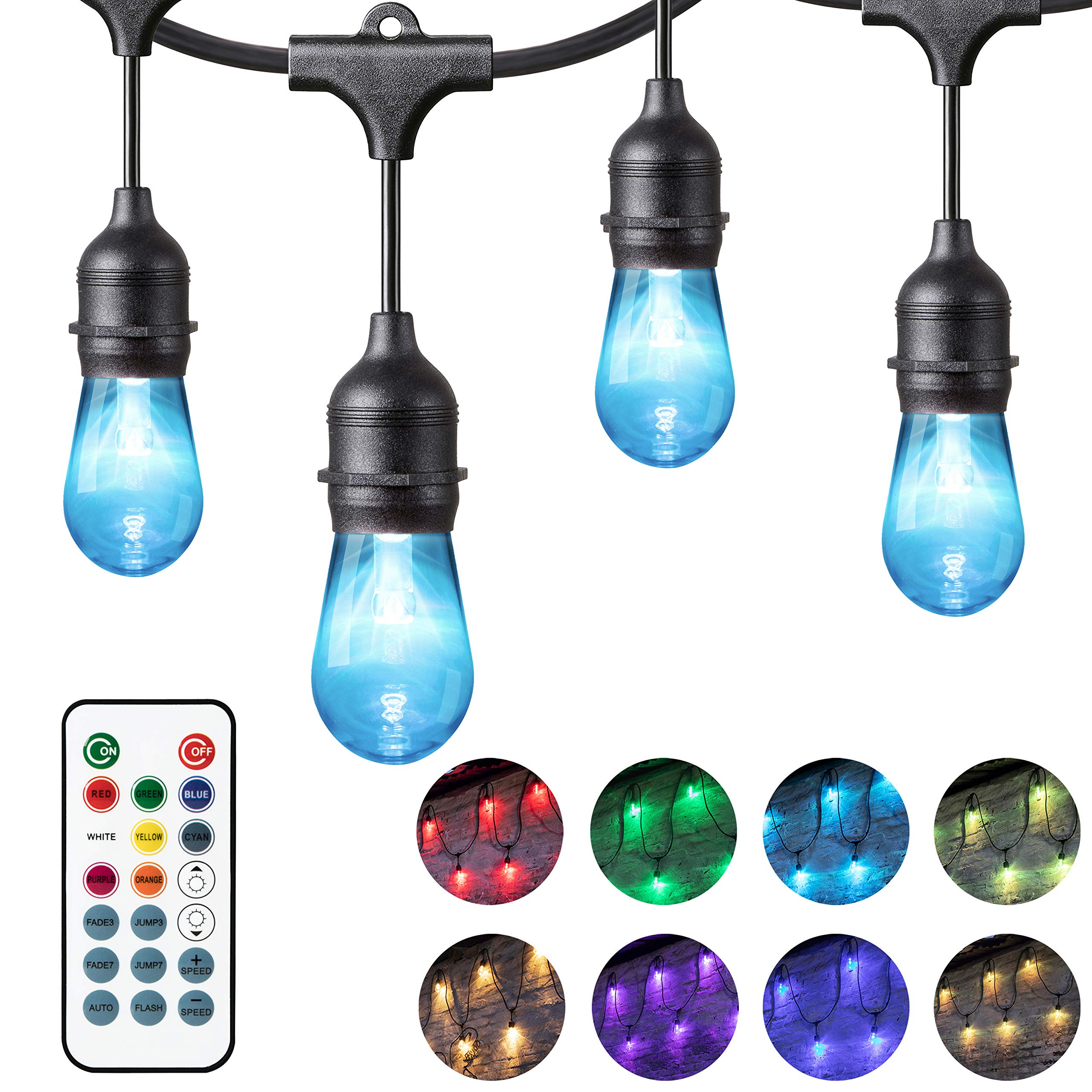 Chende 24ft Color Changing Outdoor String Lights for Patio, Commercial Grade Hanging LED Café Lights with Smart Remote, Weatherproof Outside Party Lights with 12 Dimmable Bulbs