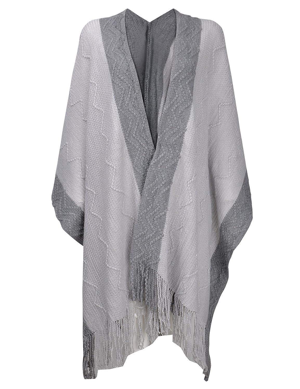 ZLYC Women Soft Textured Knit Blanket Wrap Fringe Poncho with Contrast Trims Beige JC-KW-0096-BG_CA