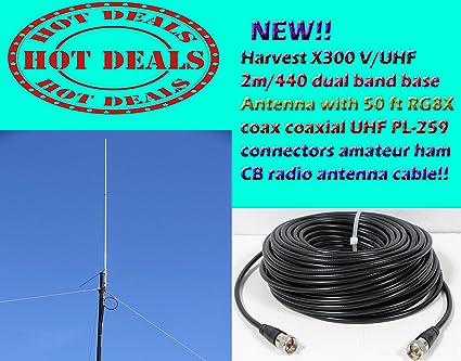 Harvest X300 V/UHF 2m/440 dual band base Antenna with 50 Ft Coax