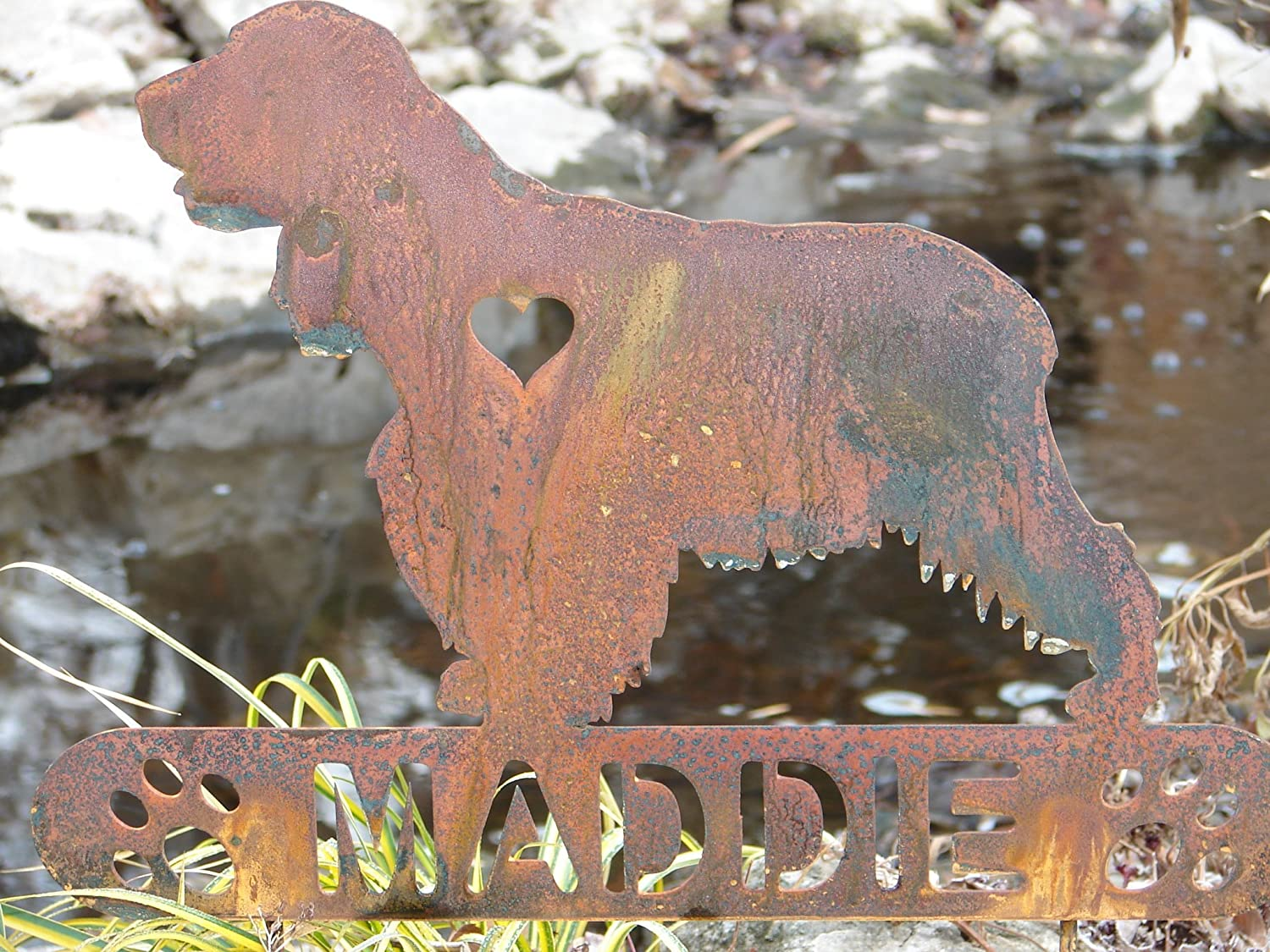 English cocker Spaniel Personalize Pet memorial Garden Stake Hunting Dog