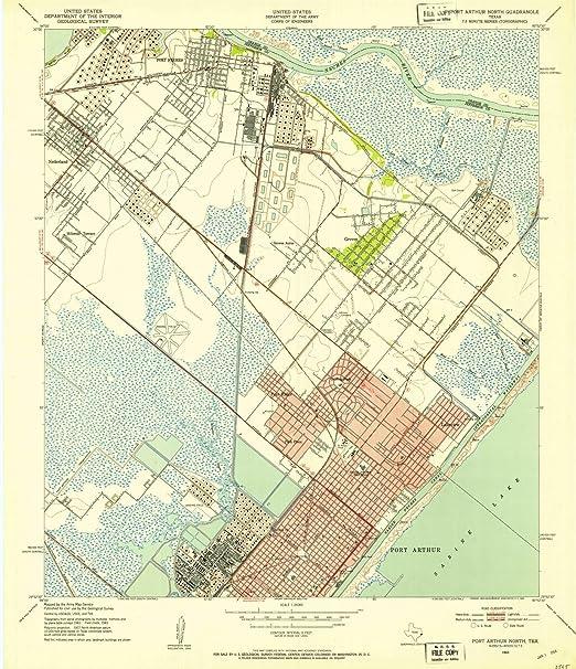 Amazon Com Historic Pictoric Texas Maps 1943 Port Arthur
