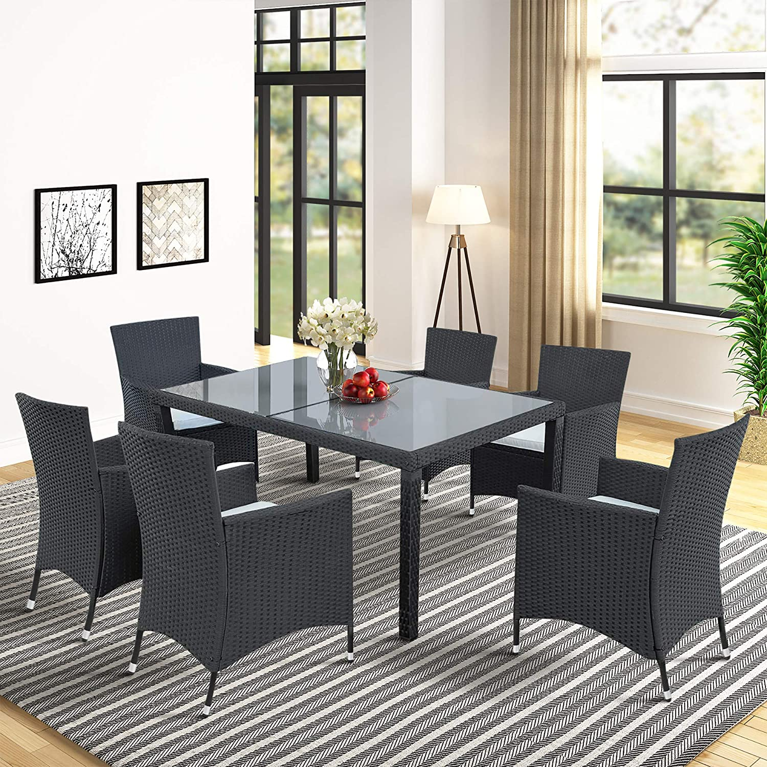 Harper Bright Designs 7 Piece Patio Furniture Dining Set Outdoor Garden Wicker Rattan Dining Table Chairs Conversation Set with Cushions Black