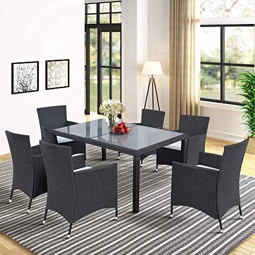 Harper Bright Designs 7 Piece Patio Furniture Dining Set Outdoor Garden Black Wicker Rattan Dining Table Chairs Conversation Set