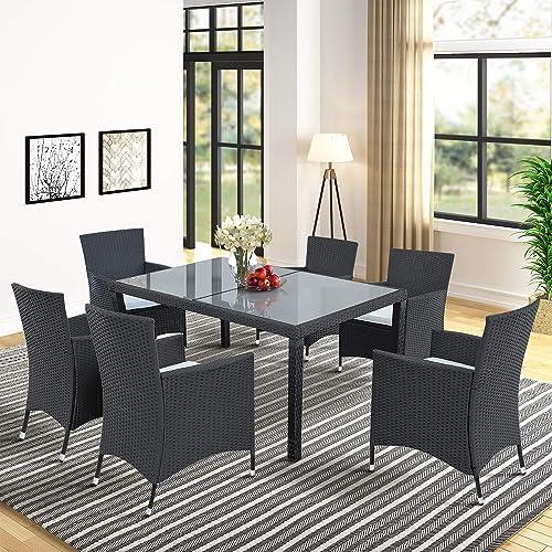 Harper Bright Designs 7 Piece Patio Furniture Dining Set Outdoor Garden Black Wicker Rattan Dining Table Chairs Conversation Set