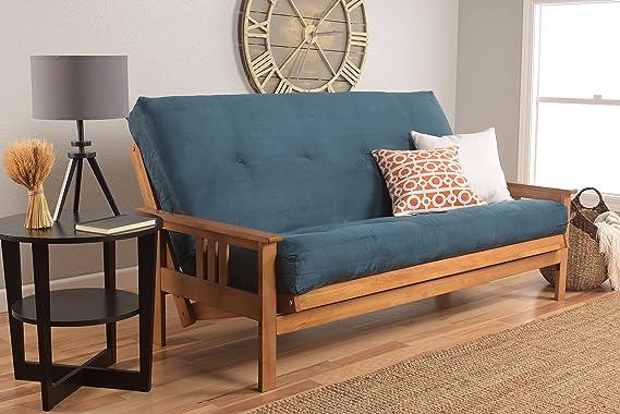 Monterey Full Size Futon Sofa Bed, Butternut Wood Frame, Suede Innerspring Mattress, Olive