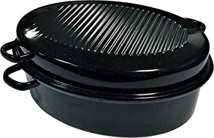 0508+2006 grille ROASTER Cocotte ovale en acier carbon 38x26cm Graniteware
