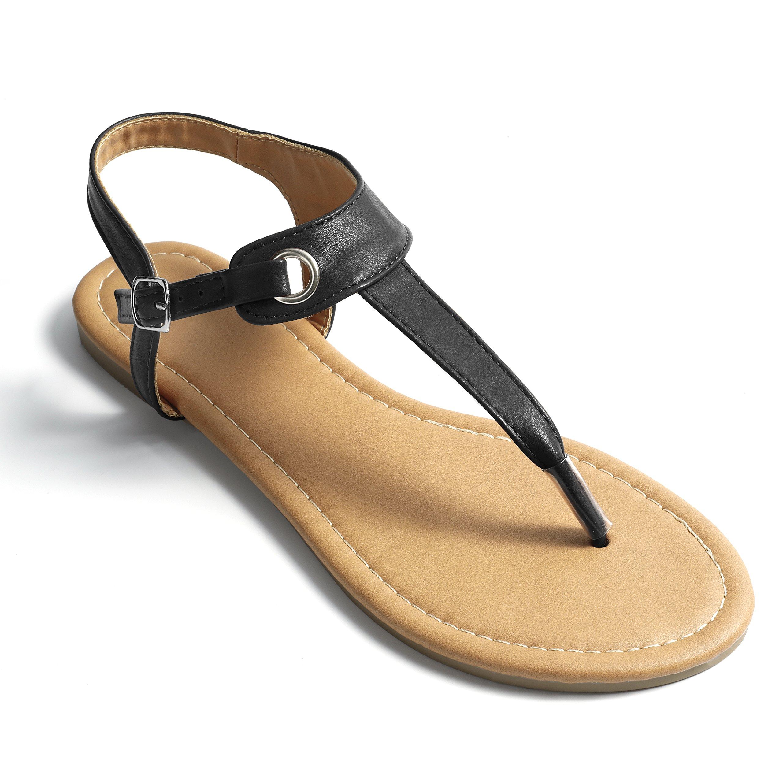 Fasehold Flat T-Strap Thong Sandal for Women Black 09