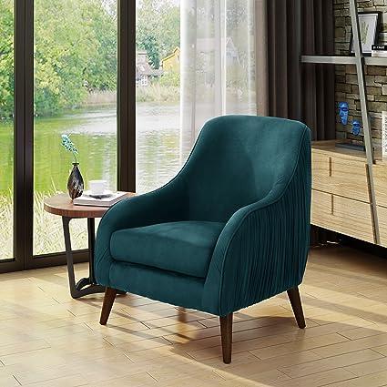 Belle Mid Century Modern Dark Green Velvet Chair