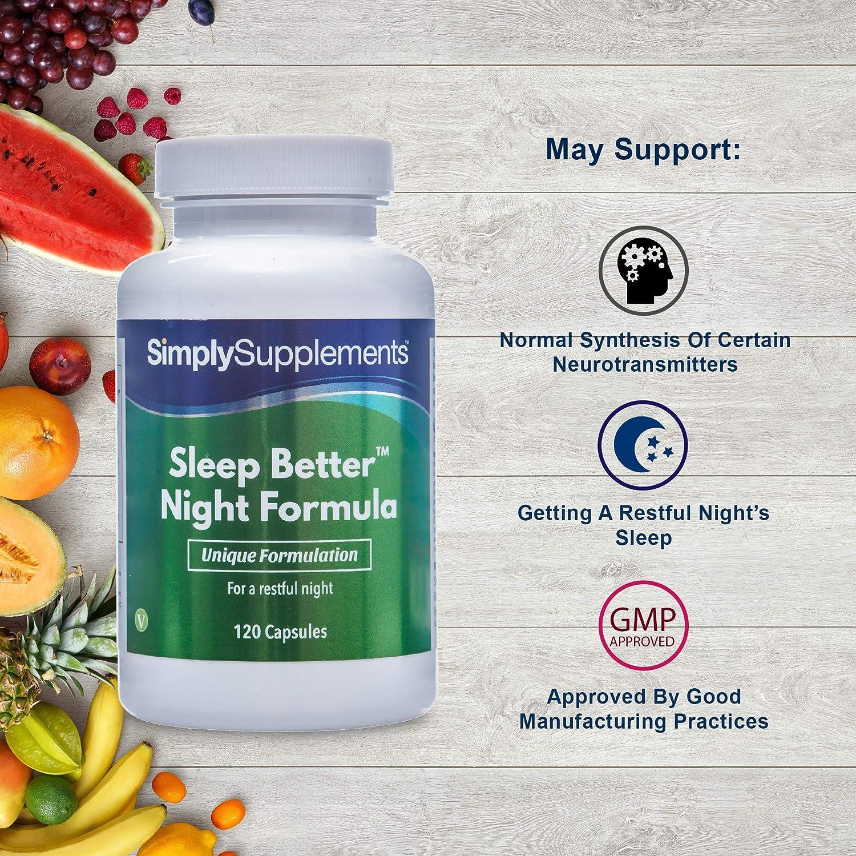 Pastillas para dormir - ¡Bote para 2 meses! - Apto para veganos - 120 cápsulas - SimplySupplements: Amazon.es: Salud y cuidado personal
