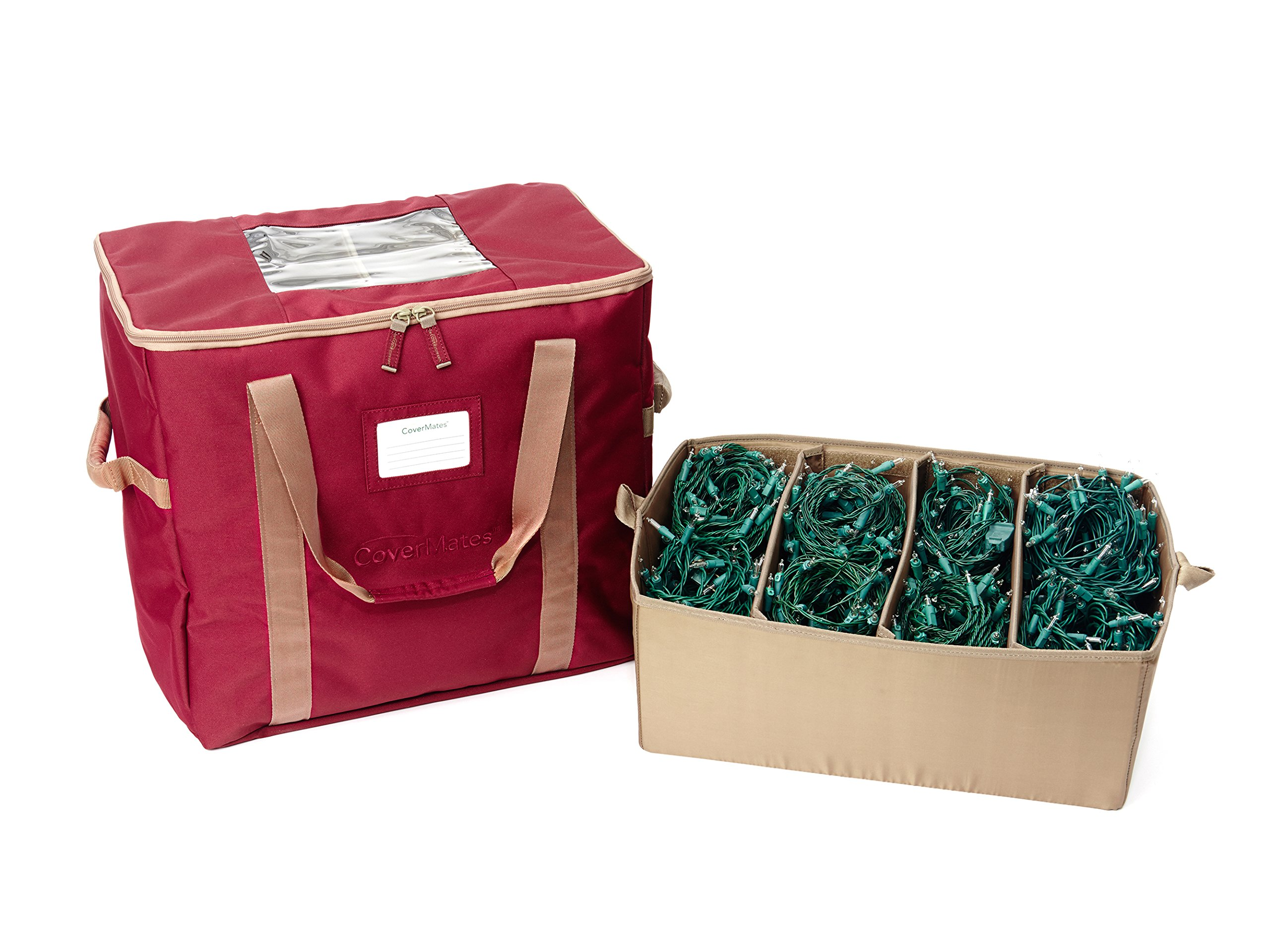 CoverMates – 18'' Holiday LightKeeper Storage Bag – Holds up 32 Light Stands – 3 Year Warranty- Red