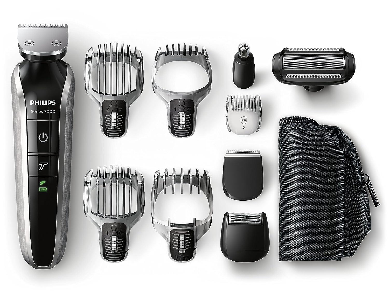 Philips QG/ Set de arreglo personal resistente al agua con funda de viaje color negro y naranja incluye accesorios