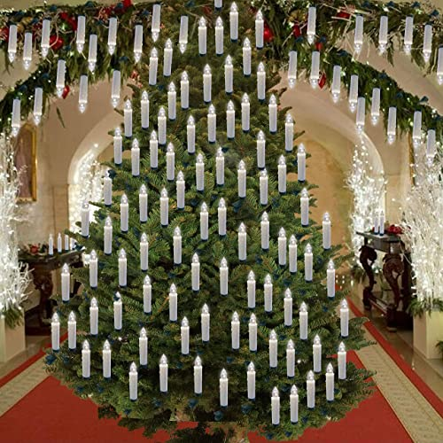 Hoolees 60 Pcs LED Christmas Tree Candles, Battery Powered, Wireless, Flameless, Flickering, Ivory with Drop, Clip-on, TUV Listed, Remote Control, for Christmas Tree Decorations and Ornaments.