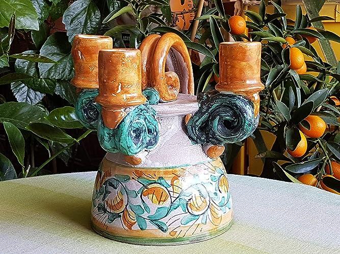 Porta candele in ceramica candelabro a tre fuochi le ceramiche