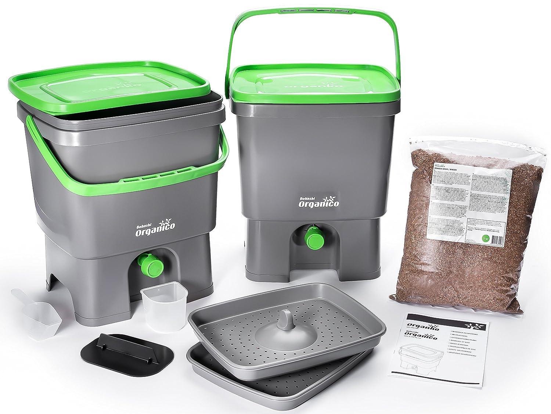 Skaza - Mente su Eco Bokashi Organico Doble Sistema 2 x 3,5 galones Cubos con Sujetador Activo y Accesorios- sostenible e Innovador contenedor de residuos ...