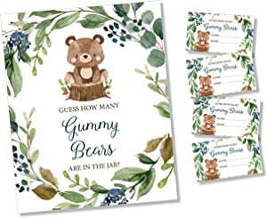 How Many Gummy Bears - Self Standing Sign - 50 Guess Cards - Greenery Woodland Baby Shower Birthday Party
