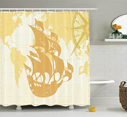 Ambesonne Nautical Decor Shower Curtain Set Double Exposure Vintage Graphic With Old World Map And