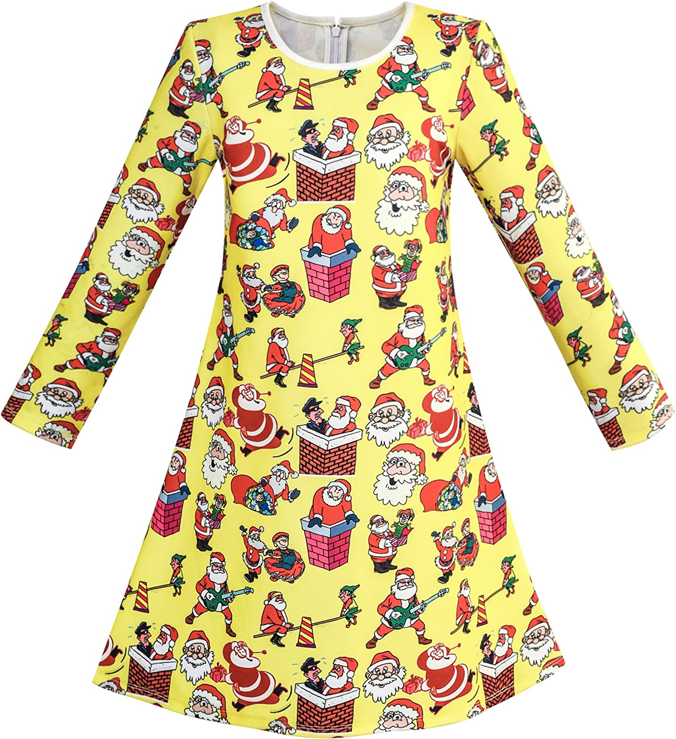 Sunny Fashion Girls Dress Green Forest Red Fox Long Sleeve Size 4-10