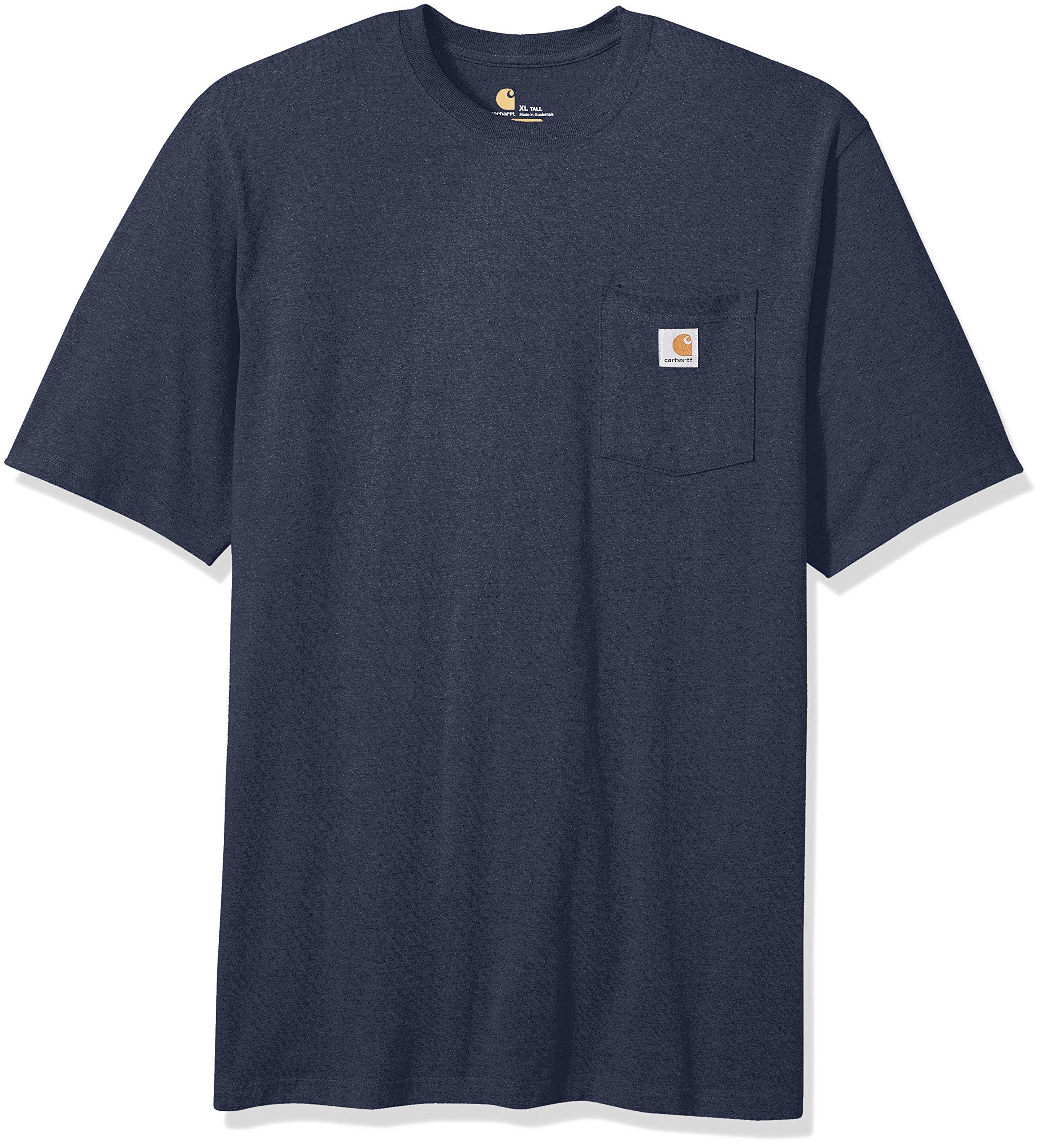 Carhartt Men's Big and Tall Big & Tall K87 Workwear Pocket Short Sleeve T Shirt, Navy Heather 3X-Large