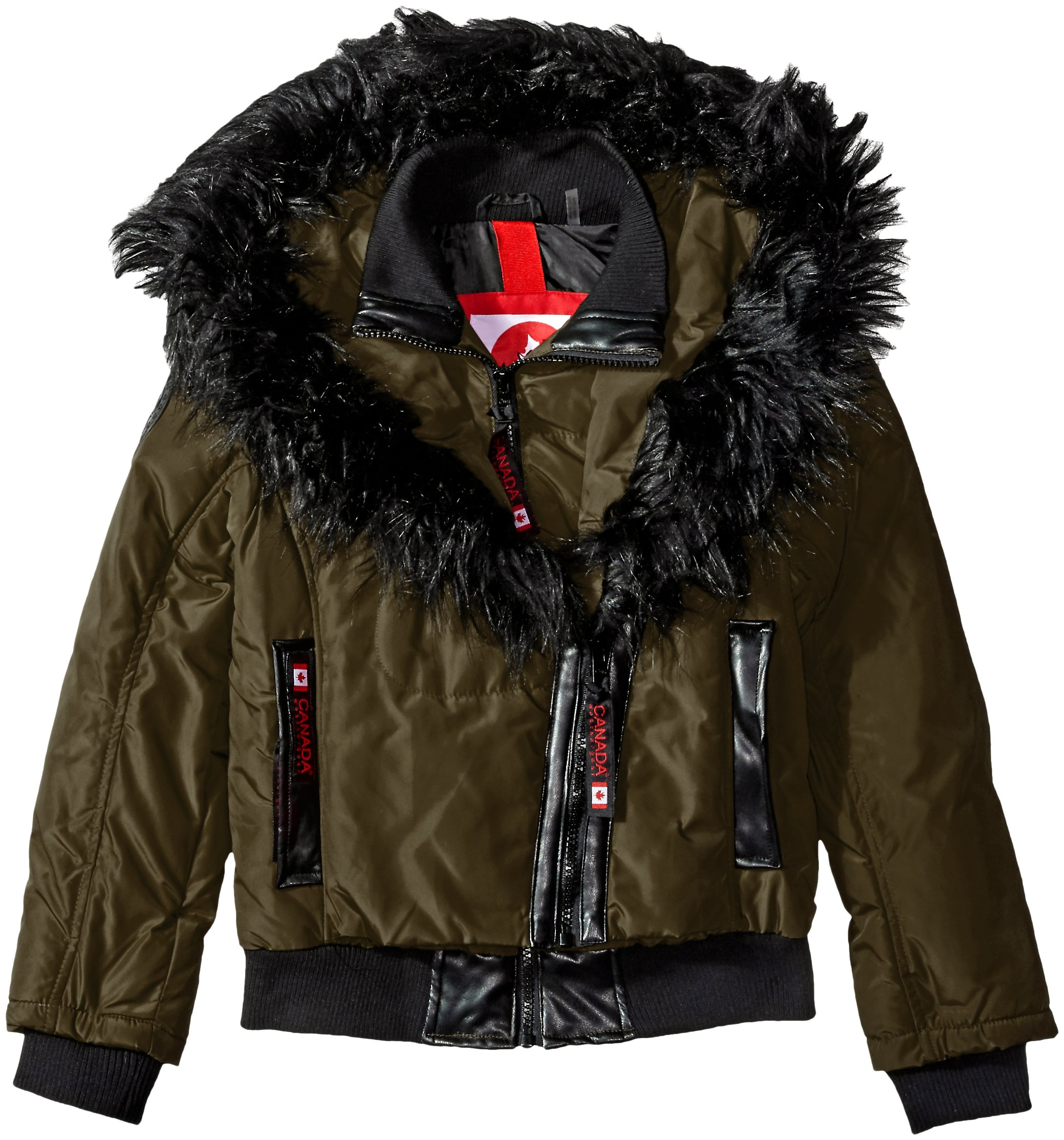 Canada Weather Gear Big Girls' Outerwear Jacket (More Styles Available), Hooded Bomber-CW050-Olive, 7/8