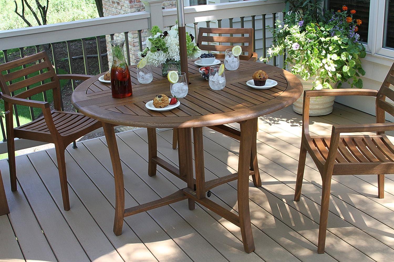 48 Inch Round Patio Table Part - 37: Amazon.com : Outdoor Interiors Round Folding Table, 48-Inch, Brown : Patio,  Lawn U0026 Garden