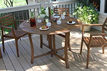 Outdoor Interiors Round Folding Table, 48 Inch, Brown