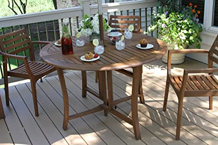 Amazoncom Outdoor Interiors Round Folding Table 48 Inch Brown
