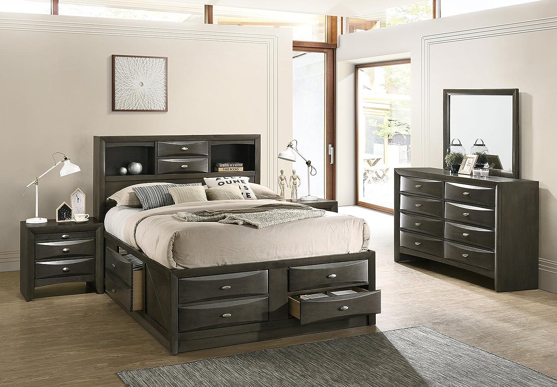 Leslie Bookcase Headboard Platform Queen Bed Set: Dresser, Mirror, 2 Night Stands FurnitureMaxx