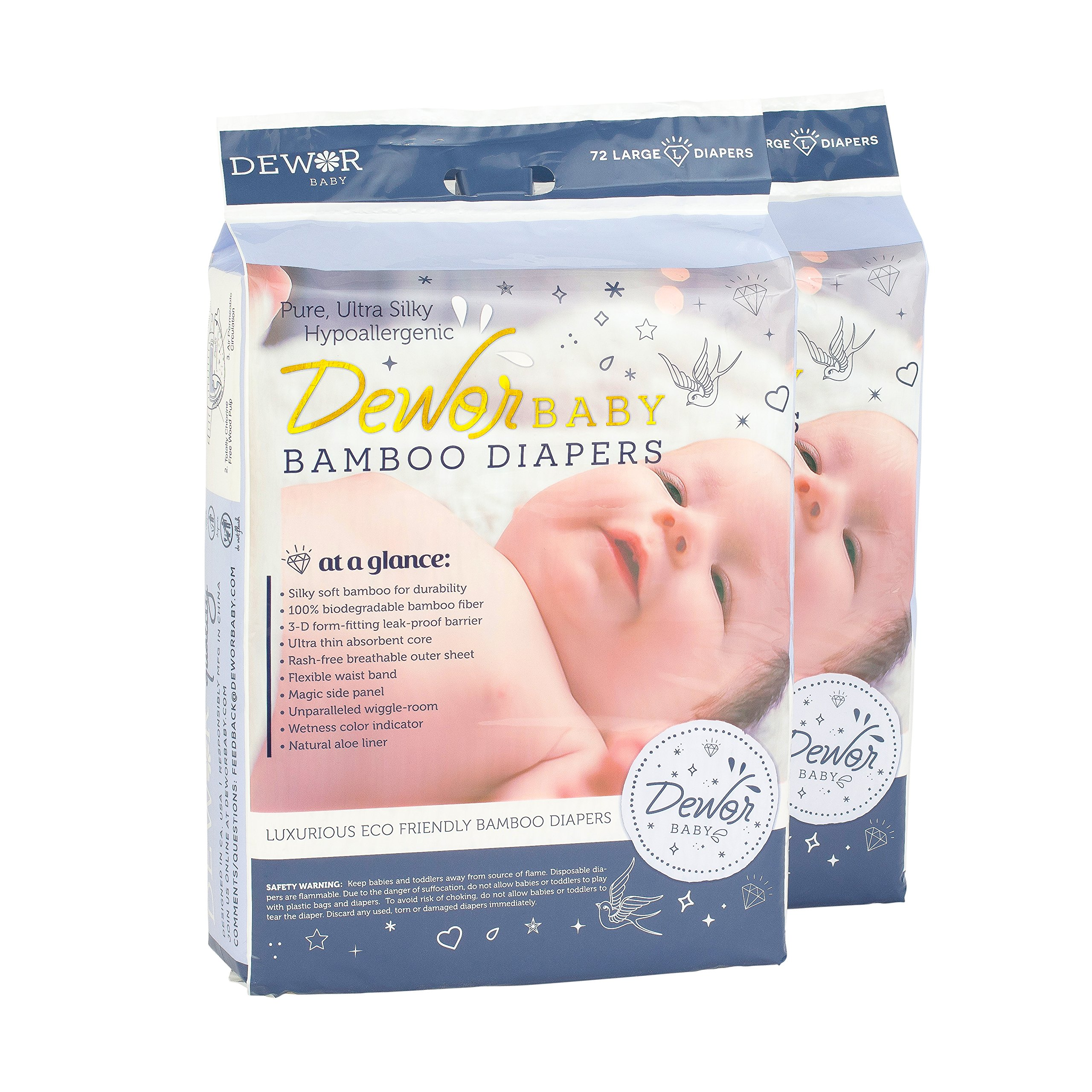 Dewor Baby Premium Bamboo Disposable Diapers, Large (20-31 lbs), 2 Pack,2x72 Count