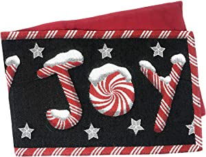 DaDa Bedding Peppermint Joy Table Runner - Festive Black Red Christmas Holiday Tapestry - Cotton Linen Woven Dining Mats (12904) (13x54)