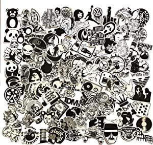 Black and White Sticker Vinyls Decals for Laptop,Kids,Cars,Motorcycle,Bicycle,Skateboard Luggage,Bumper Stickers Hippie Decals Bomb Waterproof (Black White 120PCS)
